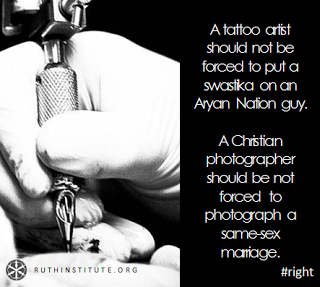 """A tattoo artist should not be forced to put a swastika on an Aryan Nation guy. A Christian photographer should not be forced to photograph a same sex marriage."""