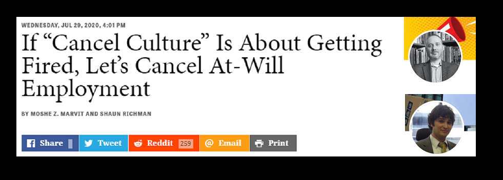 """The Caucacity: """"Cancel Culture"""" and At-Will Employment [UPDATED]"""